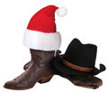 American cowboy hat and western shoes for christmas holiday isolated on white Royalty Free Stock Images