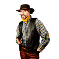 American cowboy with revolver smoking cigar on white background Royalty Free Stock Photography