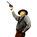 American cowboy with revolver on white background Stock Photography