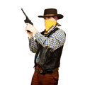 American cowboy with revolver on white background Royalty Free Stock Images