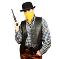 American cowboy with revolver on white background Royalty Free Stock Photo