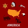 American cultural and historical symbols famous flat icons with map of the usa sheriff star injun leader in feather headdress Royalty Free Stock Photo