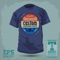 American custom motorcycle badge vintage graphic t shirt design vector illustration t shirt print Stock Photo