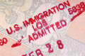 American customs stamp usa immigration entry on the inside page of a passport Stock Image