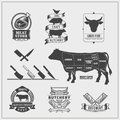 American cuts of beef. Set of beef logos, labels, knives and design elements. Royalty Free Stock Photo