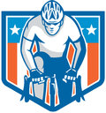 American Cyclist Riding Bicycle Cycling Shield Retro Royalty Free Stock Photo