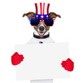 American dog with red gloves behind banner Stock Photos