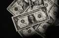 American dollars on black background_black and white Royalty Free Stock Photo