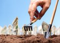 American dollars grow from the ground carrying investments Royalty Free Stock Images