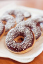 American donuts delicious traditional chocolate dessert Stock Photo