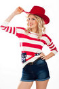 American-dressed girl in red hat Stock Image