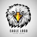 American eagle head logo or bald eagles vector label Royalty Free Stock Photo