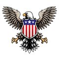 American Eagle with Stars and Stripes Shield / Badge / Emblem Vector Illustration Royalty Free Stock Photo