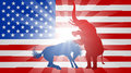 American Election Concept Elephant Beating Donkey Royalty Free Stock Photo