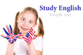 American english flags child s hands learning english language concept Royalty Free Stock Image