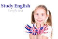 American english flags child s hands learning english language concept Royalty Free Stock Photography