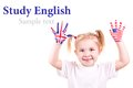 American english flags child s hands learning english language concept Stock Photos