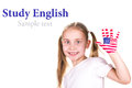American english flags child s hands learning english language concept Stock Photography