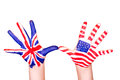 American and English flags on hands. Royalty Free Stock Photos