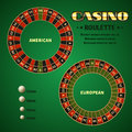 American and European casino roulette motion wheels vector illustration