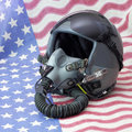 American fighter pilot a united states air force helmet with oxygen mask this helmet saw actual combat action in the gulf war in Stock Images