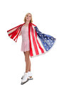 American figure skater a teenage wrapped in the flag Stock Image