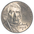 American five cents coin Jefferson Nickel Royalty Free Stock Photo