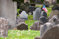 American flag attached to grave granary burying ground boston Royalty Free Stock Photos