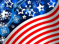 American Flag Background Means Snowing Winter And States