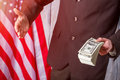 American flag, businessman and cash. Royalty Free Stock Photo