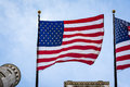 American Flag Closeup Backlit USA Patriotism Hanging Background Royalty Free Stock Photo