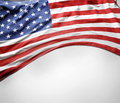 American flag closeup of on plain background Royalty Free Stock Images