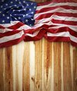 American flag closeup of on wooden background Stock Photo
