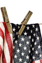 American flag on a clothesline with clothespins Royalty Free Stock Photo