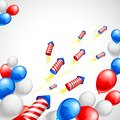 American flag colored balloon and firecracker on independence day Stock Photos