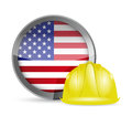 American flag and construction helmet illustration design over white Royalty Free Stock Photos
