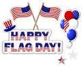 American flag day stickers banner with a beautiful text hat flags and balloons Stock Photos