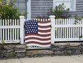 American flag decoration on fence Royalty Free Stock Images