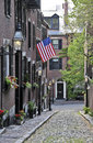 An american flag displayed on acorn street in boston massachusetts the beacon hill are of Stock Photo