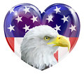American flag eagle love heart Stock Images