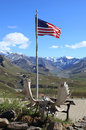 The American Flag at Eielson Visitor Center in Denali National Park Royalty Free Stock Photo