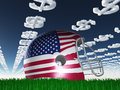 American FLag Football Helmet with Dollar Symbol Clouds Stock Photos