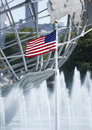American flag in the front of new york world s fair unisphere Royalty Free Stock Images