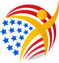 American flag globe man Royalty Free Stock Photo