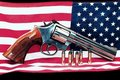 Stock Images American flag and gun