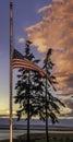 American Flag at Half Staff Royalty Free Stock Photo