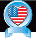 American flag heart in blue display Royalty Free Stock Photo