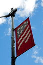 American flag, July 4th street sign Royalty Free Stock Photo