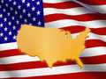 American flag and map Stock Photo