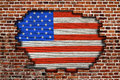 American flag on old brick wall texture or background Stock Images